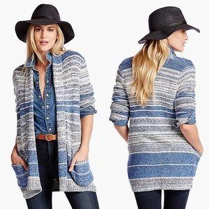 Lucky Brand Blue Striped Cardigan Size XL